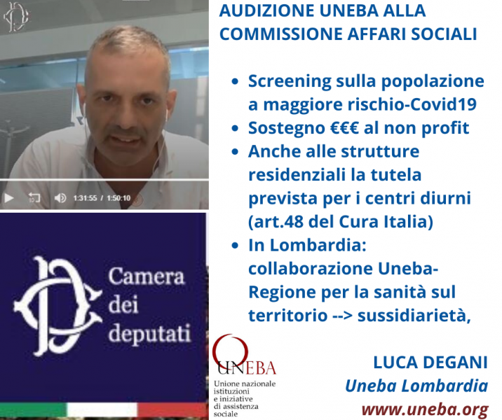 VIDEO – Audizione alla Camera di Luca Degani, presidente di Uneba Lombardia