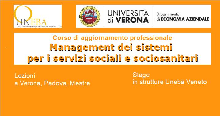 Manager di enti sociosanitari: perfezionamento universitario  Uneba Veneto – Università di Verona
