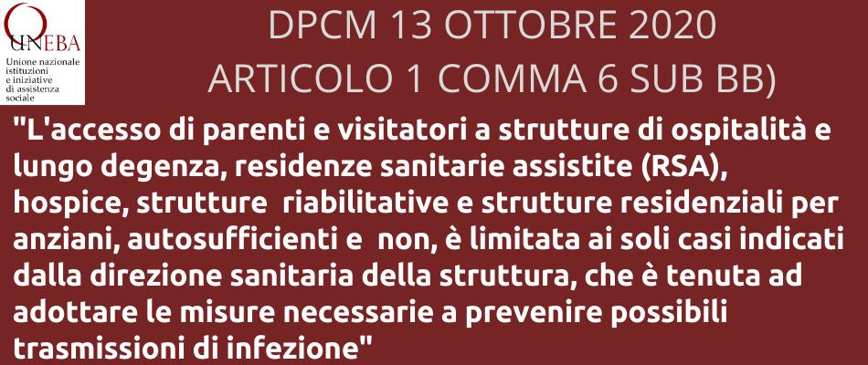 Covid-19 | Dpcm 13 ottobre, ecco il testo e le novità per gli enti Uneba