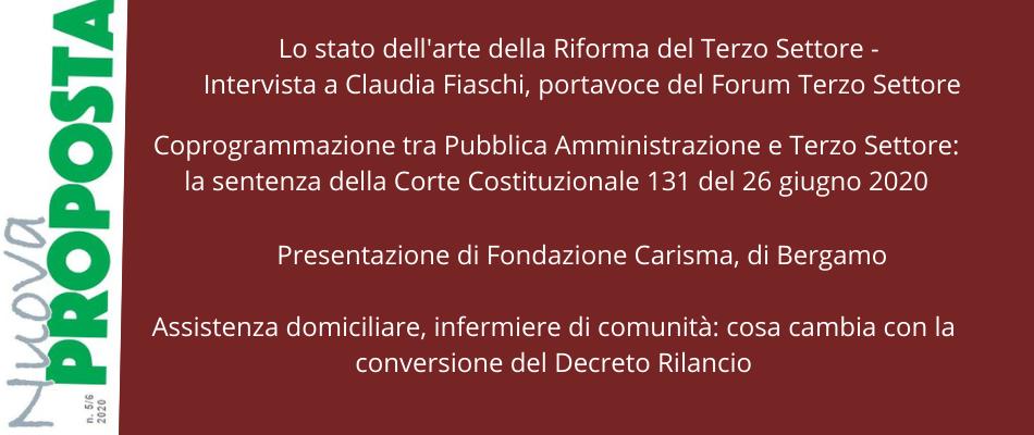 Nuova Proposta settembre-dicembre 2020: Uneba intervista Claudia Fiaschi del Forum Terzo Settore