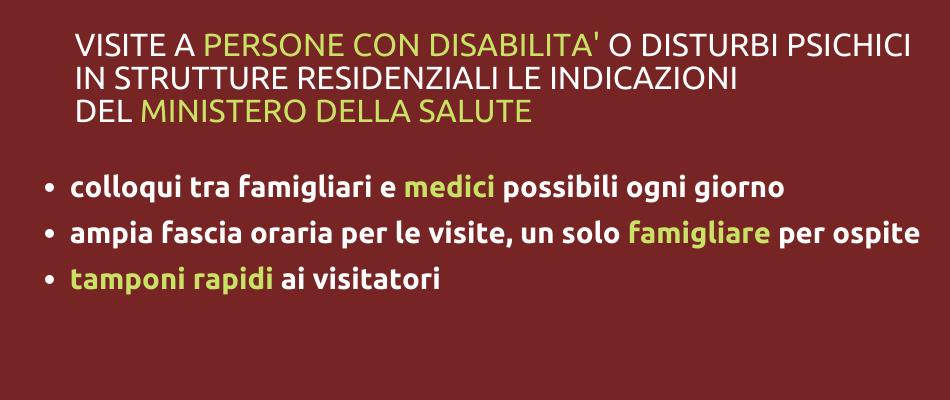 Visite a persone con disabilità o disturbi psichici in struttura: indicazioni del Ministero della Salute