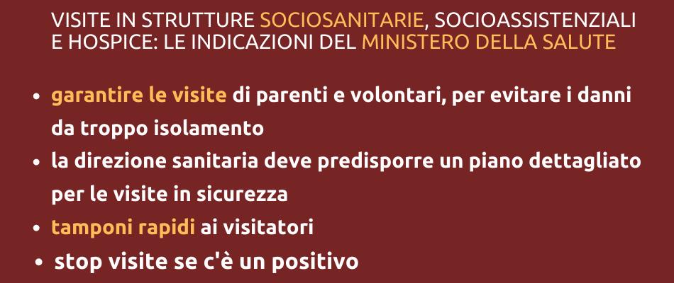Visite dei famigliari nelle strutture residenziali: indicazioni del Ministero della Salute