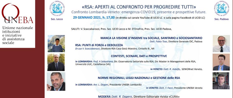 Futuro delle Rsa, Uneba Lombardia e Uneba Veneto a confronto
