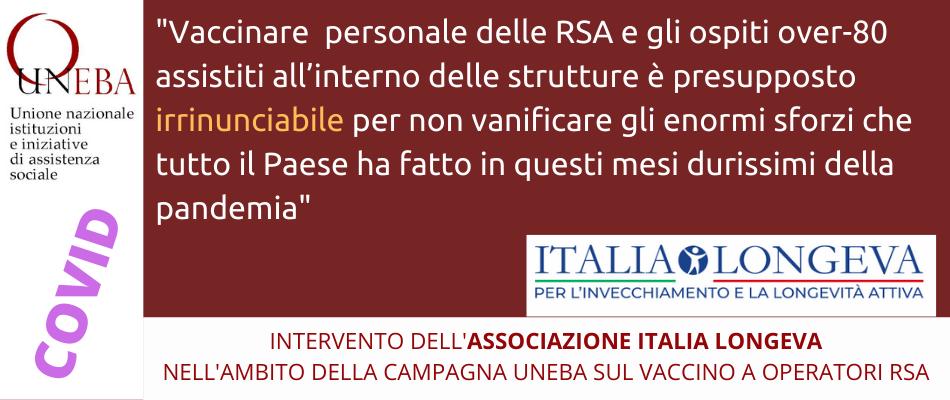 Per chi lavora in RSA la vaccinazione Covid è un atto di responsabilità personale, medica e sociale, ribadisce Italia Longeva