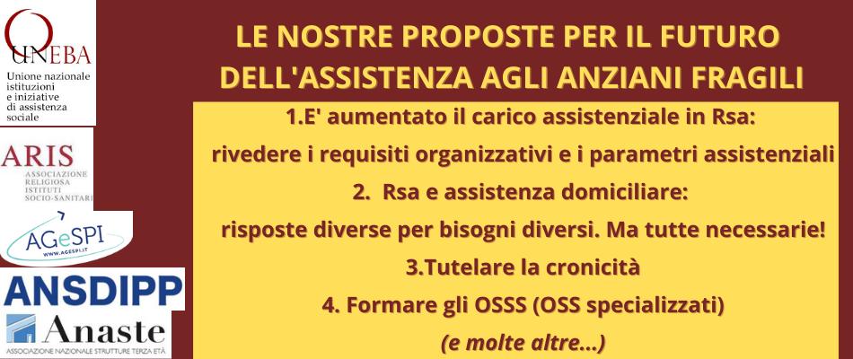 Rsa e assistenza agli anziani: le proposte di Uneba, Aris, Anaste, Ansdipp, Agespi