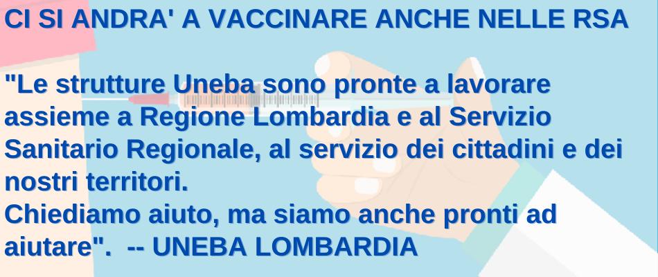 Lombardia – Punti vaccinali anche negli enti Uneba