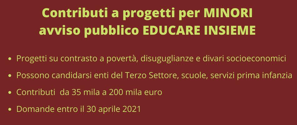 Minori – Bando Educare Insieme, domande entro il 30 aprile 2021