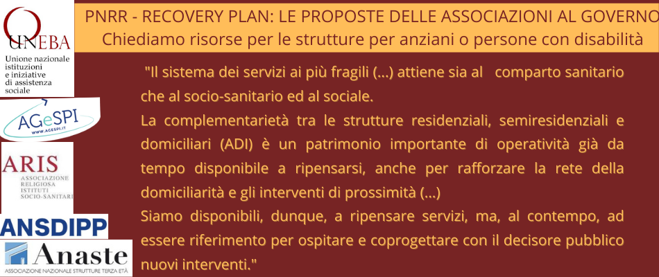 PNRR – Le proposte di Uneba e di tutto il sociosanitario