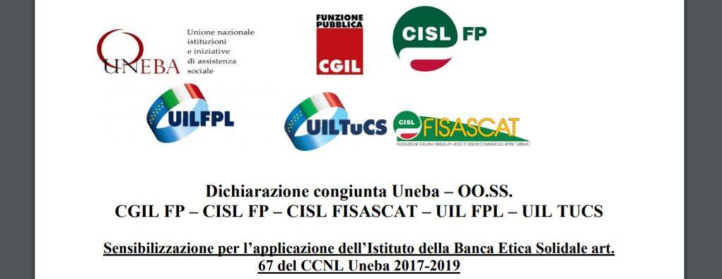 Banca Etica Solidale – Dichiarazione congiunta Uneba e sindacati