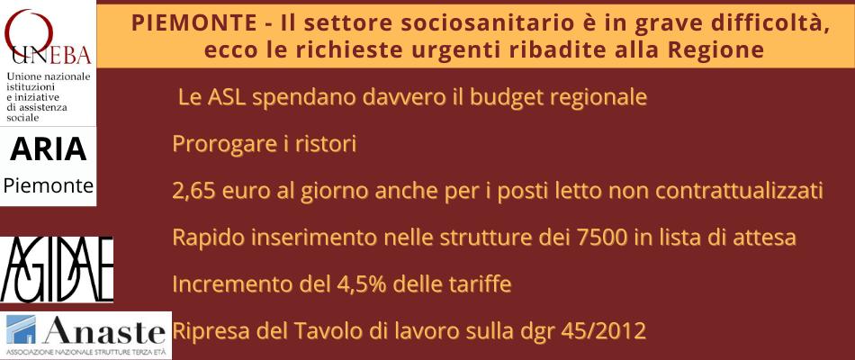 Sociosanitario Piemonte – Le richieste alla Regione di Uneba Anaste Aria Agidae