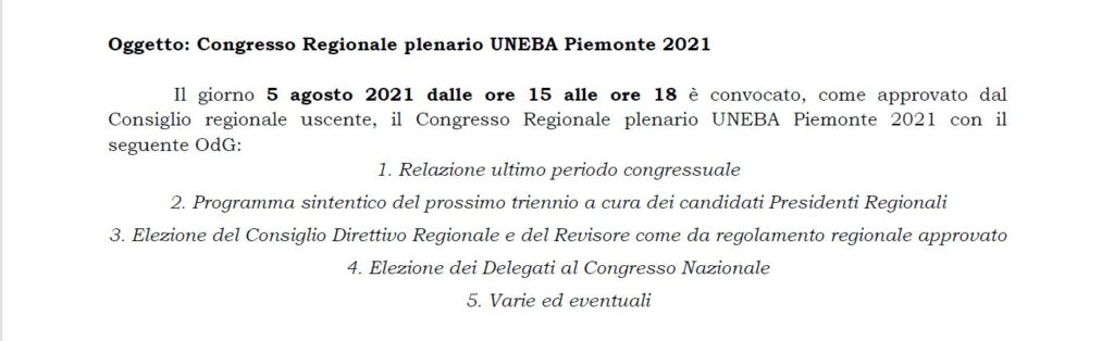 Congresso regionale Uneba Piemonte 2021