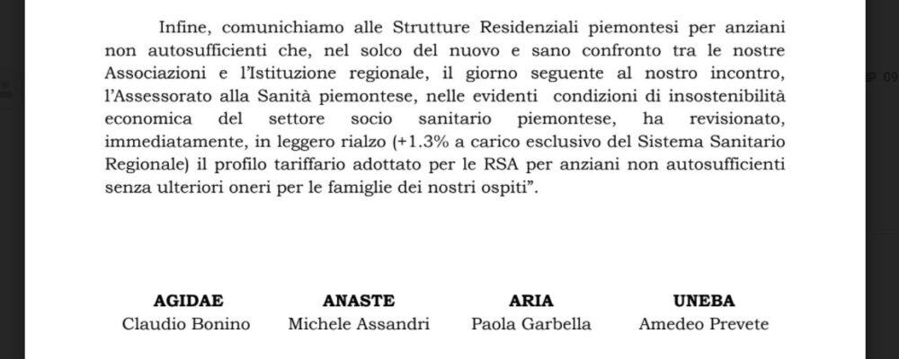 Piemonte – La Regione aumenta dell'1,3% le tariffe pagate alle Rsa