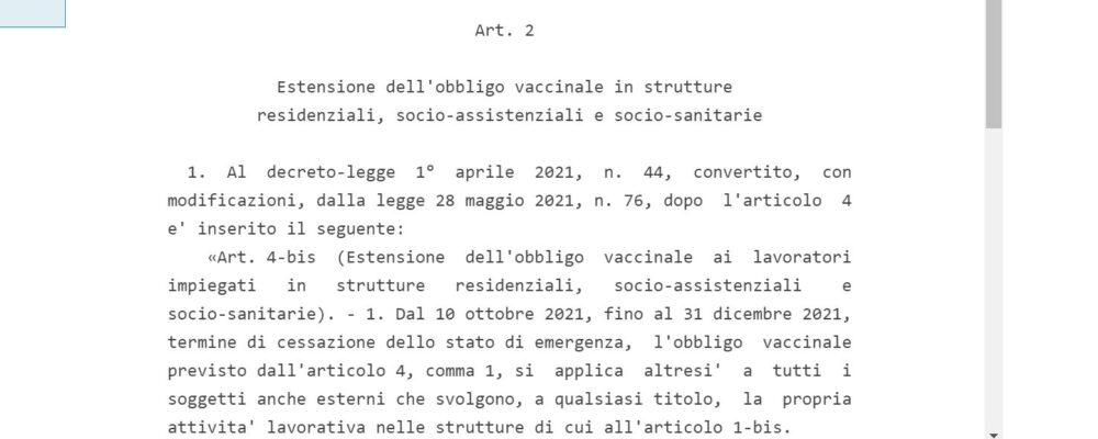 Obbligo vaccinale per tutti in Rsa – Testo del decreto legge