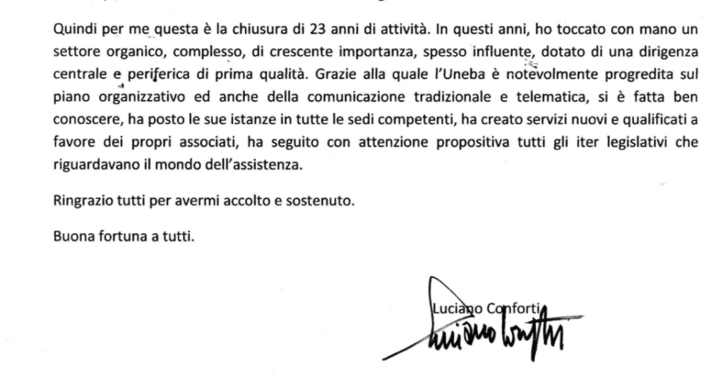 Luciano Conforti conclude il suo servizio in Uneba
