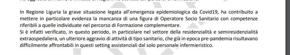 Liguria – Oss con formazione complementare nel Repertorio regionale delle professioni